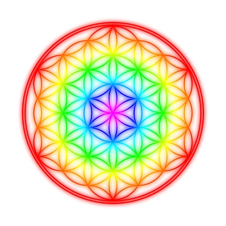 chakra symbols: Flower of Life - Rainbow halo effect on Weia