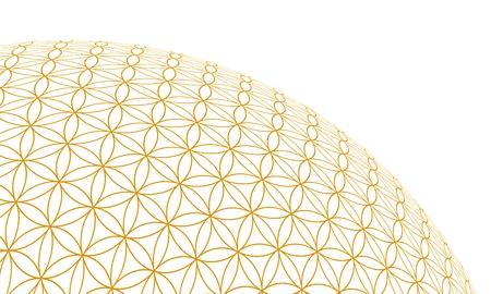 Ball 3D - Fleur de vie - or Weia Banque d'images - 18732705