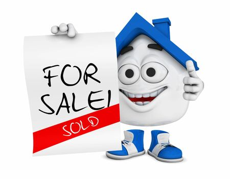 Small 3D Blue House - For Sale - Sold Stock Photo - 18732668