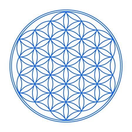 Flower of Life Symbol Blau Weia 1 Standard-Bild