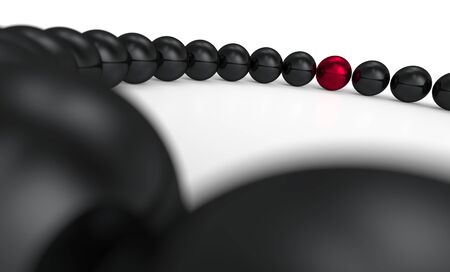 string of pearls: red and black - 3D ball focus 5 Stock Photo