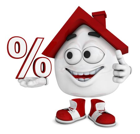 lair: Small 3d house red - symbol percent Stock Photo