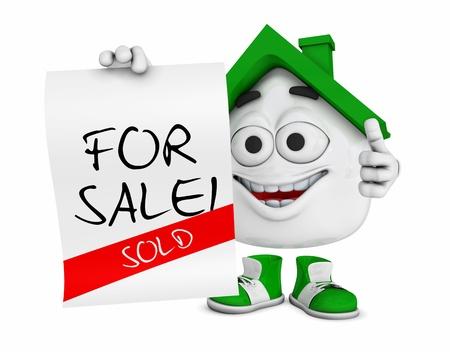 sold small: Piccola 3d Verde Casa - In Vendita - Venduto Archivio Fotografico