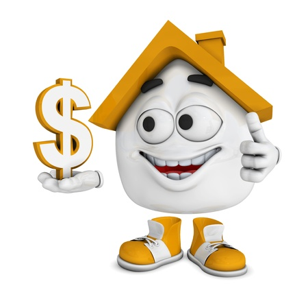 Small 3d Orange House - dollar symbol photo