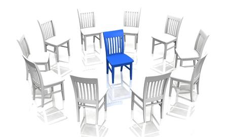 self exam: chair concept blue white Stock Photo