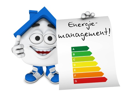 save heating costs: Small 3d Blue House - Energy Management Concept 1