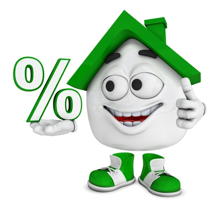 cheap: Small 3d house Greenn - percent symbol