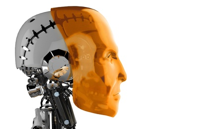 d data: Side view - orange robot head Stock Photo