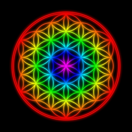 Rainbow Flower of Life symbool Stockfoto