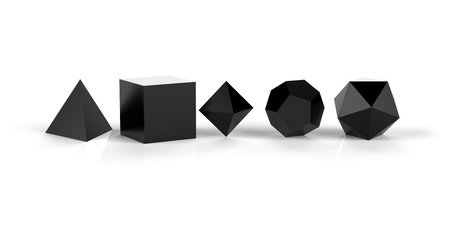 3D Platonic solids of sacred geometry - black glossy