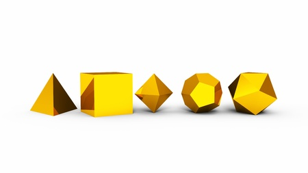 3D Platonic solids of sacred geometry - Gold