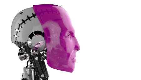 d data: Side view - Pink Robot Head