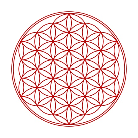 3d aum: Flower of Life symbol red Wess 1