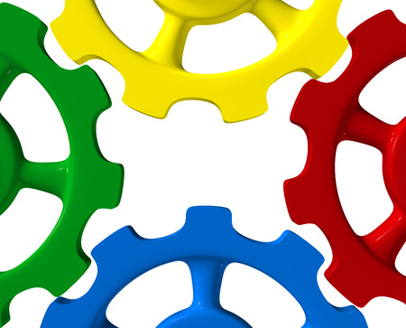Colorful cogwheels of - Green n Red Blue Yellow 2