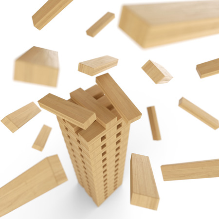tower block: Wooden tower out of blocks in motion 2