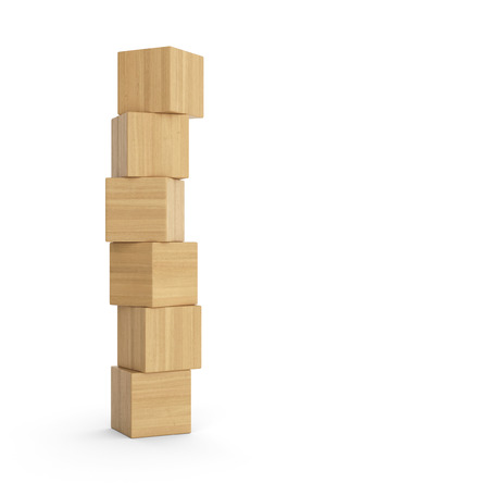 tower block: Tower of wooden blocks isolated Stock Photo