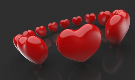 3D red heart in circle Black Red 1 photo