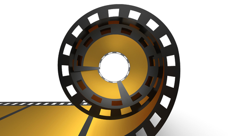 3D Cinema Concept - Golden Film Reel 1 photo