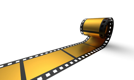3D Cinema Concept - Golden Film Reel 3 photo