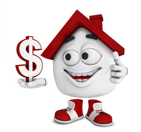 Small 3d house red - dollar symbol photo