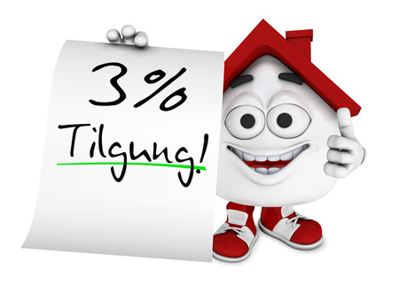 repayment: Small 3d house red - 3 percent repayment