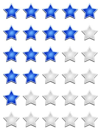 five star: Five Star Rating System - Blue WEIA Stock Photo