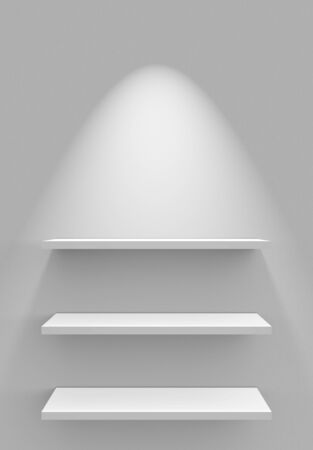three shelves: Three shelves on the wall with lighting - WEIA Stock Photo