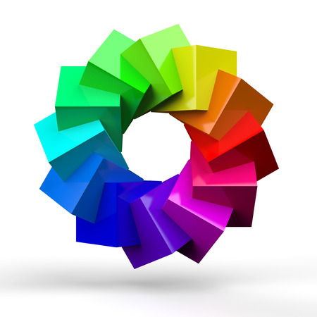 3D cube color circle 4 photo