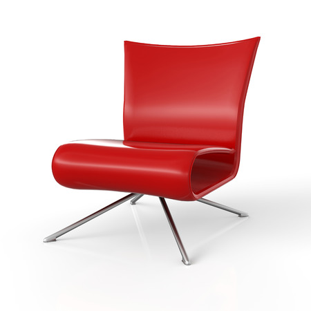 Contemporary armchair isolated - Red Stock Photo - 25681163