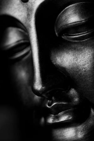 moine: Visage du Bouddha - Noir et Blanc Banque d'images