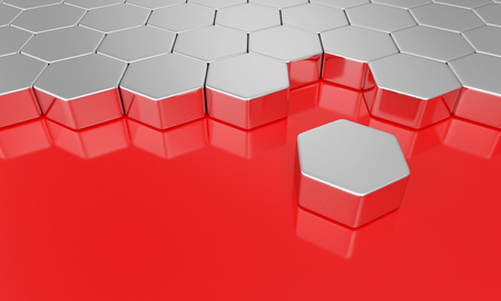 Hexagon building block concept - Silver Red photo