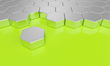 Hexagon building block concept - Silver green photo
