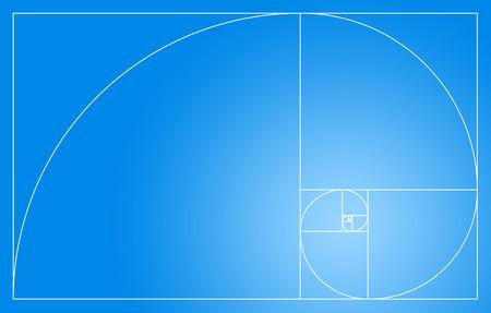 fibonacci: Fibonacci spiral in the golden section - Blue and White Stock Photo