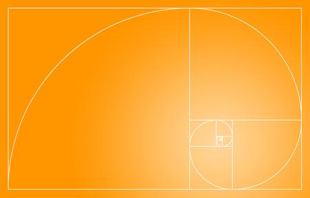 fibonacci: Fibonacci spiral in the golden section - Orange and White Stock Photo