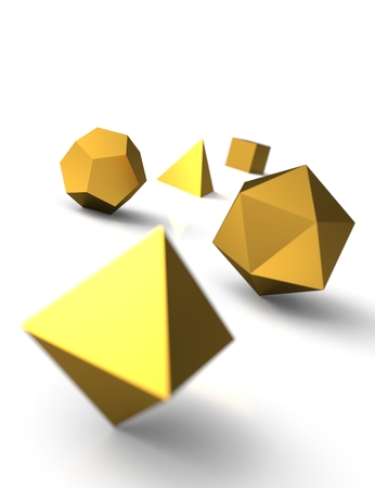 Platonic solids in 3D - Precious Gold 3 photo