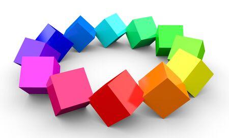 creative: 3d color cubes 4