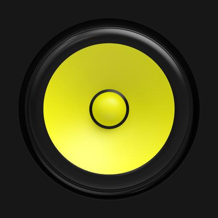 amp tower: Big yelllow speaker Stock Photo