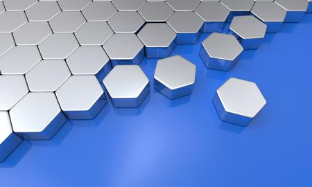 buildup: hexagon building blocks silver blue 4