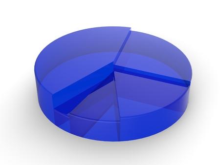 Kreisdiagramm aus Glas - blau Stock Photo