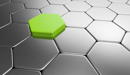 buildup: hexagon concept green silver