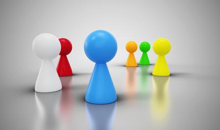 trabajo social: grupo de conos de colores