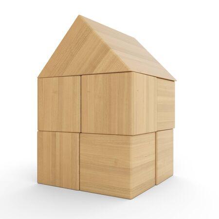 buildup: lets build a wood bricks house 4 Stock Photo