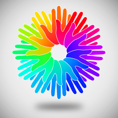 oneness: circle of colorful hands