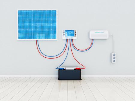 Solar kit concept - alle componenten Stockfoto