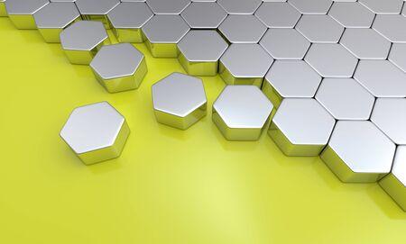 buildup: hexagon building blocks silver yellow