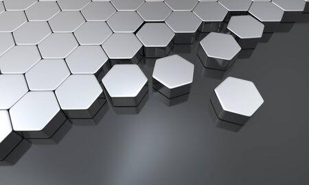 buildup: hexagon building blocks silver black