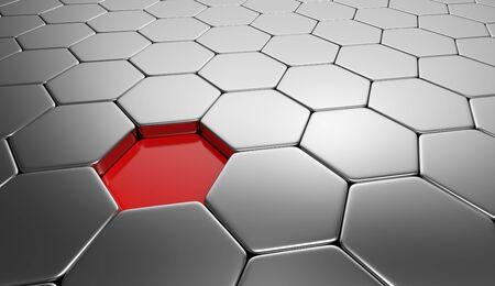 buildup: hexagon concept red silver 6