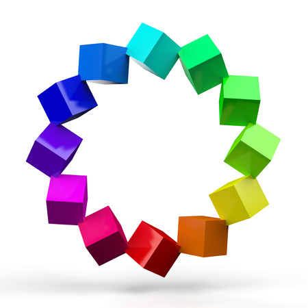3D colorful cube circle