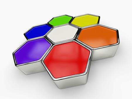 hexagon: hexagon rainbow color concept Stock Photo