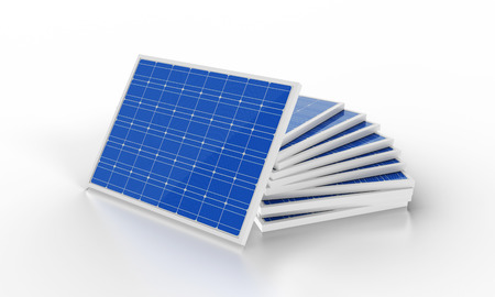 photovoltaic panel: stack of solar cells on white background
